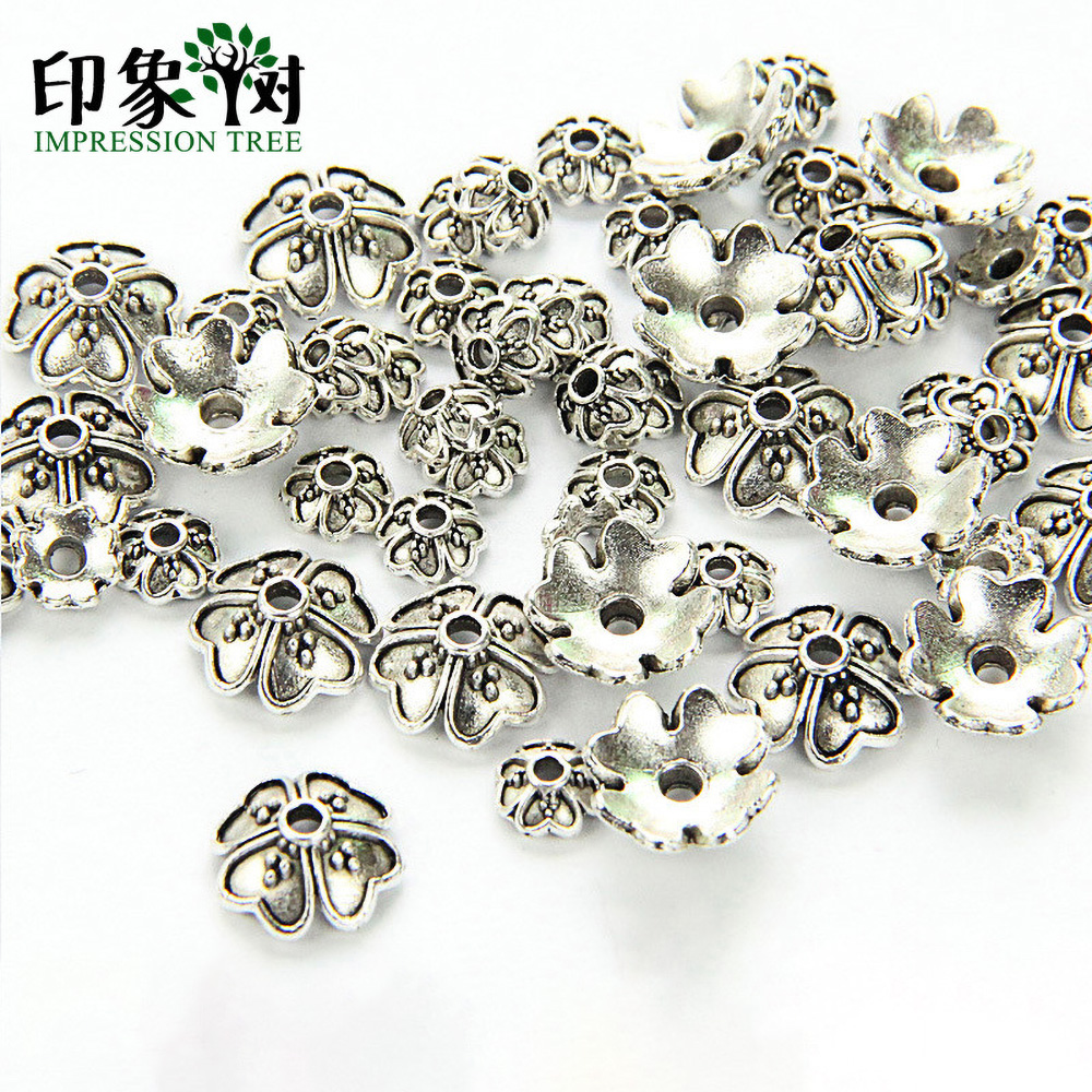 6/9mm Zinc Alloy Silver Flower Star Spacer End Beads Caps Charms For Jewelry Making Bracelet Accessories 849