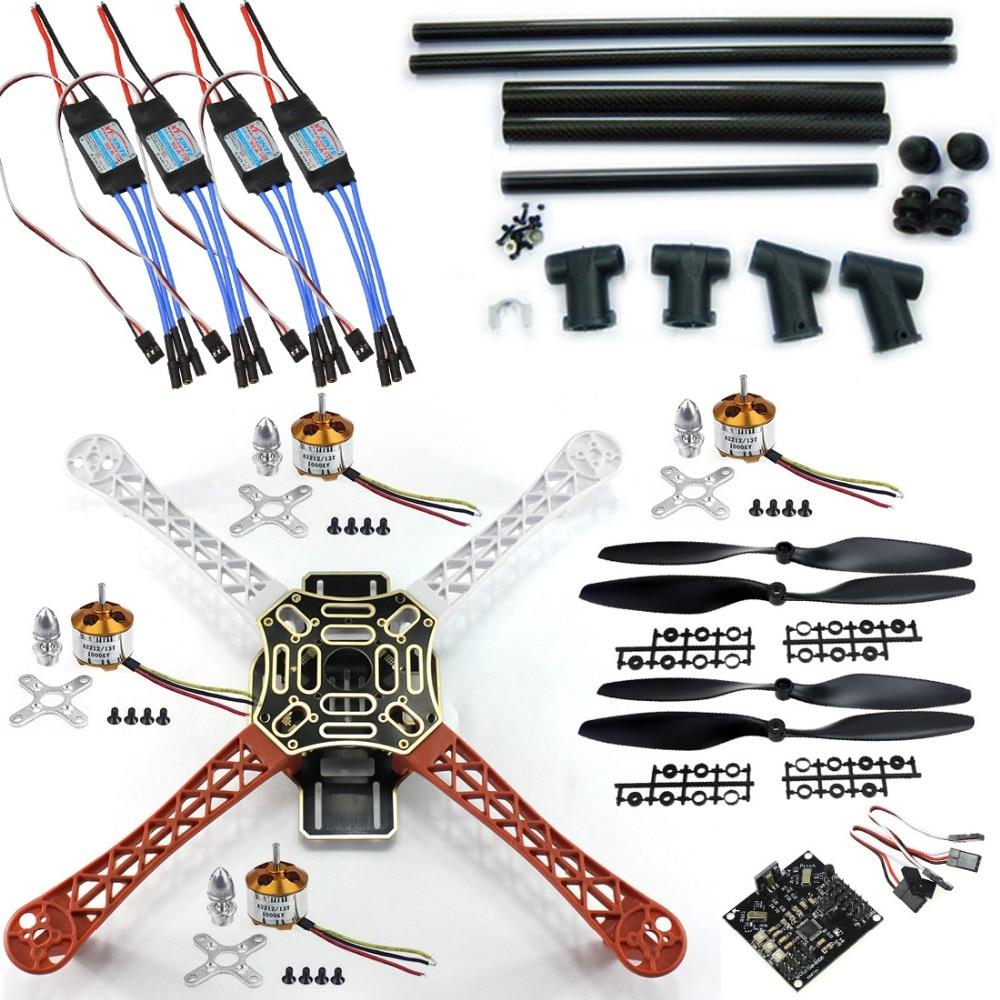 F06586-C DIY RC Quadcopter FPV Kit:Nylon Flamewheel + Carbon Tall Landing Skid + KK V2.9 Controller + Motor ESC