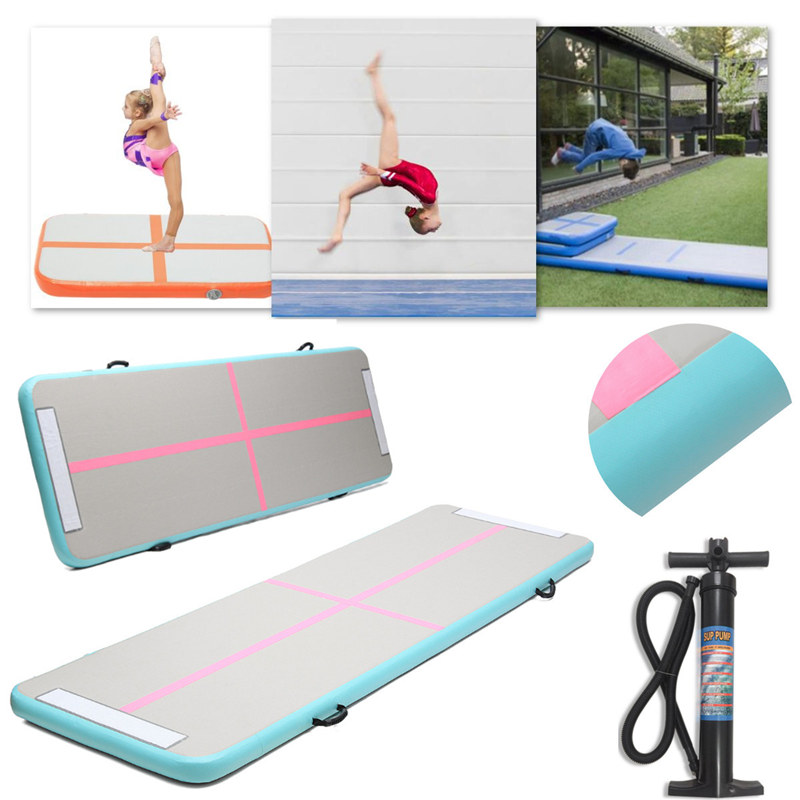 New 300x90x10cm Air Track Home Inflatable Taekwondo Gymnastics Tumbling Mat With Hand Pump Yoga Air Training Pad Yoga Mats free shipping 10 2 inflatable mat gymnastics air track taekwondo air cushion martial arts training jumpinflatable gym air track