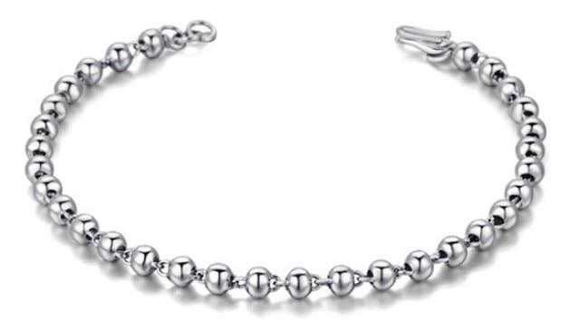 Wholesale Genuine 100% Real Pure 925 Sterling Silver 4mm ball bracelet ,men women silver bangle Fine Jewelry free shipping HMG-1