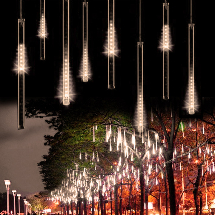 50CM 30 LEDs Meteor Shower Rain Tubes LED Light For Christmas Garden Decoration 100-240V US/EU Plug Warm White