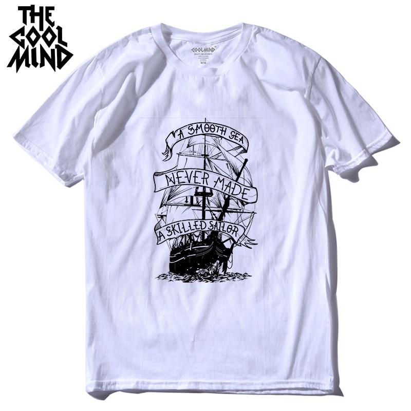 COOLMIND qi0410A 100% cotton mens tee shirt casual short sleeve boat print men T shirt casual summer tshirt male t-shirt LMYX