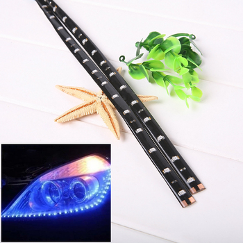 2PCS 30cm Waterproof Flexible Universal Car led DRL Daytime Running Light Flow Runs Headlight LED Strip Brake Turn Signal Lights image