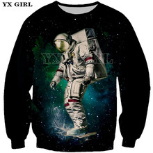 2018 Spring Autumn Mens 3d Printed Astronaut Pullover Casual Sweatshirt Astronauts Sweatshirts Crewneck Tracksuit Dropshipping