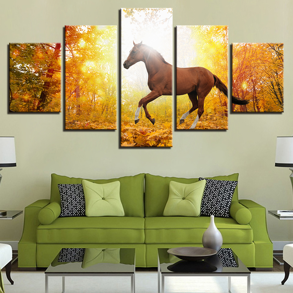 Wall Picture Print Animal Horse Painting Modular 5 Panel Sunset Poster Canvas Frame Art For Living Room Home Decor Artwork