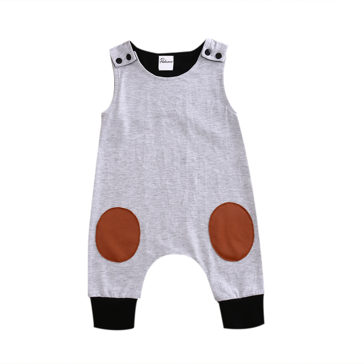 Pudcoco 2017 Newborn Kids Baby Boys Girls Clothes Sleeveless Gray Romper Jumpsuit Summer Cute Cotton Outfits 2017 summer toddler kids girls striped baby romper off shoulder flare sleeve cotton clothes jumpsuit outfits sunsuit 0 4t