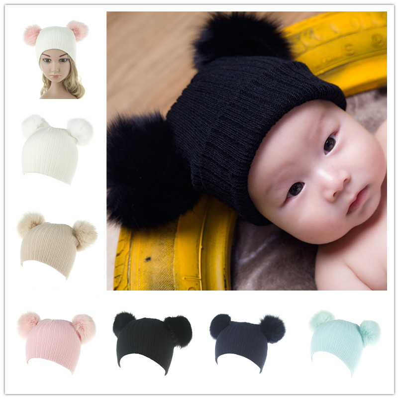 Hot Style Baby Winter 100% Real 2 Mink Fur Ball Beanie Knit Hat for Kids Warm Raccoon Fur Pom Poms Skullies Beanies Wool Cap new star spring cotton baby hat for 6 months 2 years with fluffy raccoon fox fur pom poms touca kids caps for boys and girls