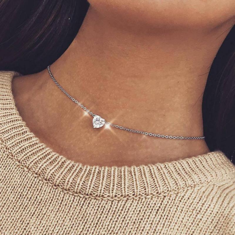 Crystal Solitaire small Pendant Dainty long chain Necklace Bridal women Jewelry