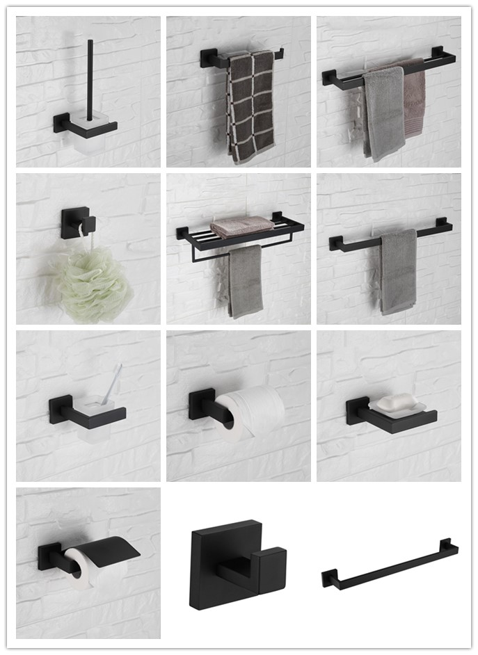 Matte Black 12-Piece Bathroom Hardware Accessory Set Towel bar rack shelf Robe hook paper holder ring Toilet brush Soap dish-C towel ring black towel holder towel bar bathroom accessories set paper holder luxury toilet brush holder robe hook soap dish