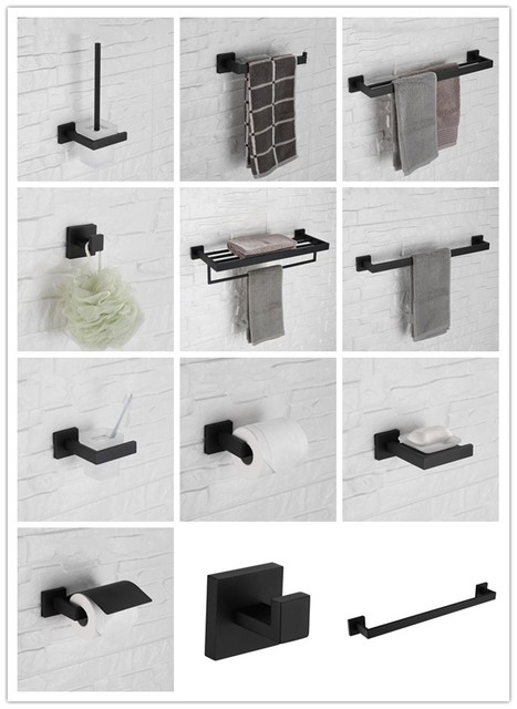 Matte Black 12 Piece Bathroom Hardware Accessory Set Towel Bar Rack Shelf Robe Hook Paper