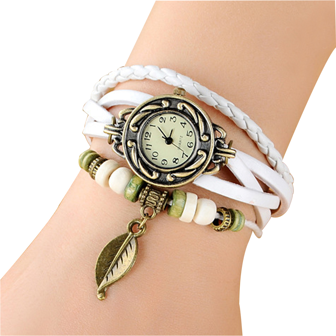 Us 12 51 8 Off 10pcs Lot New Hot S Cow Leather Vintage Watch Women Bracelet Leaf Pendant Las Quartz Wrist In Charm