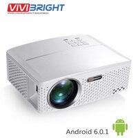 VIVIBRIGHT 1800 люмен светодиодный проектор GP80/up. (Необязательно Android 6.0.1, WI-FI, Bluetooth простой Бимер) для ТВ led дома Театр