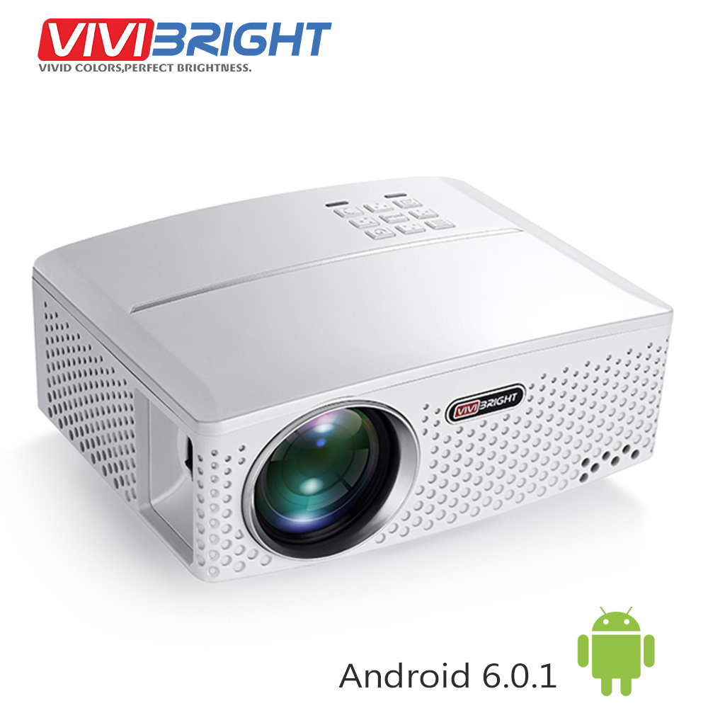 VIVIBRIGHT 1800 Lumens LED Projector GP80 / UP. (Optional Android 6.0.1, WIFI, Bluetooth Simple Beamer) for TV LED Home Theater vivibright gp5s mini led projector 320x240 80ansi lumens