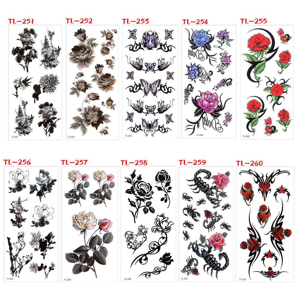 1PC À Prova D' Água Tatuagem Falsa Tatuagem Temporária Adesivos Decalque Flor Cheia de Longa Duração Hallowen Mulheres Corpo Braço Perna Ferramentas Da Arte do prego