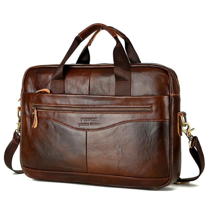 100% Genuine Leather Briefcase Laptop Handbag For Men Retro Casual Business Computer Bags Classic Crossbody Bag Satchel