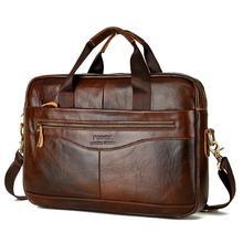 Genuine Leather Briefcase Laptop Handbag for Men Retro Casual Messenger Business Bags High Quality Classic Crossbody Bag Satchel