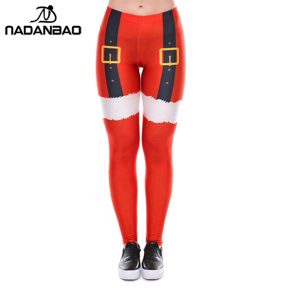 NADANBAO Christmas Red Leggings Women Plus Size Thigh Belt Printed Leggins Festival Autumn Winter Fitness Legging