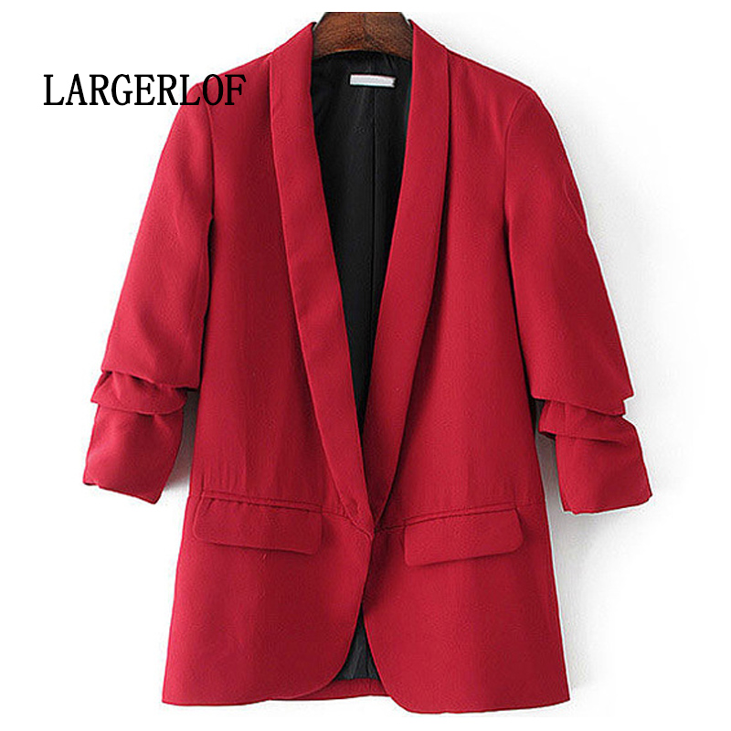 LARGERLOF Women Blazer Autumn Spring Double Breasted Blazer Red Simple Women Blazers And Jackets BR50017