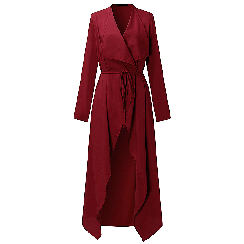 Plus Size S-3XL Women Ladies Casual Long Sleeve Slim Fit Thin Waterfall Long Belted Cardigan Duster Coat Jacket Overalls Outwear 4