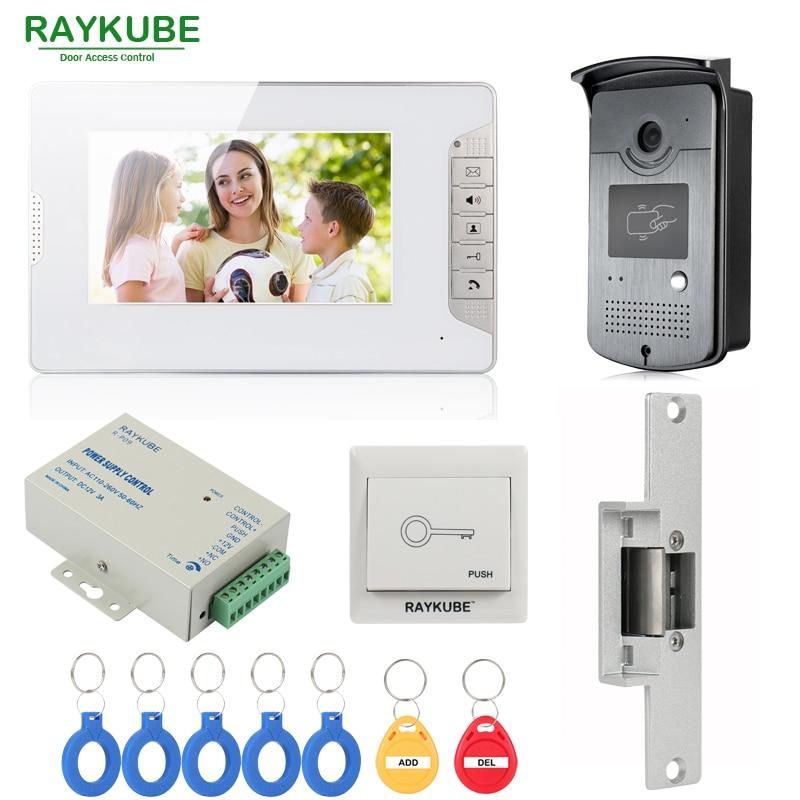 Проводной видеодомофон RAYKUBE, система внутренней связи с 7 дюймовым ЖК монитором, RFID считыватель и камера, Электрический дверной замок