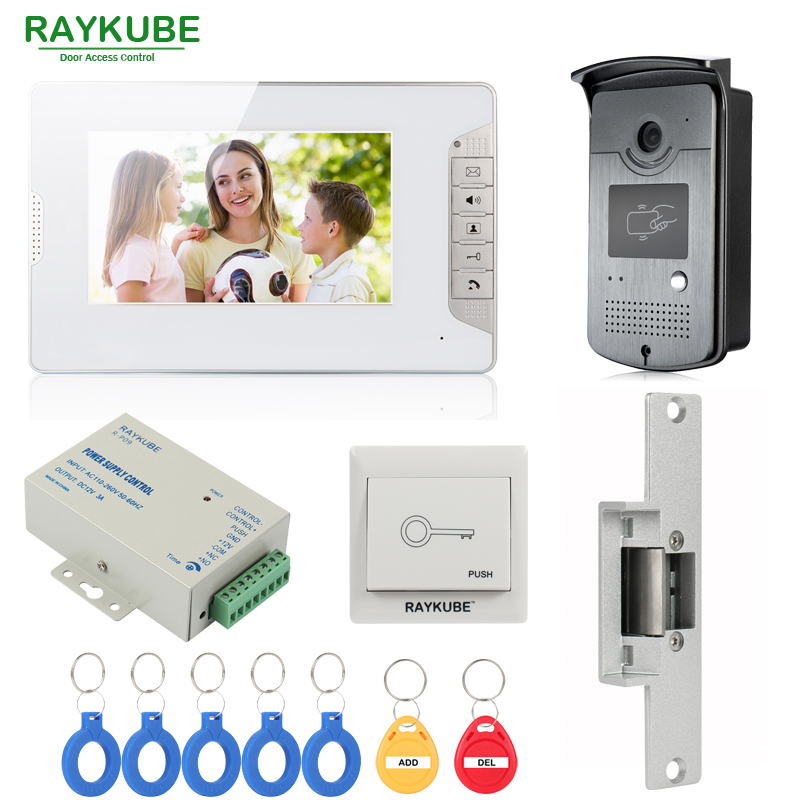 RAYKUBE Wired Video Door Phone Intercom System With 7 Inch LCD Monitor RFID Reader & Camera Electric Strike Door Lock 3v3 7 inch monitor water proof ip66 wired intercom video door phone
