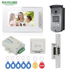 RAYKUBE Wired Video Door Phone Intercom System With 7 Inch LCD Monitor RFID Reader & Camera Electric Strike Door Lock