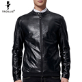 Troilus 2016 Men Leather Jacket Fashion Brand Soft Men's High-grade Leather Coat Stand Collar Spring Autumn Slimming Jacket