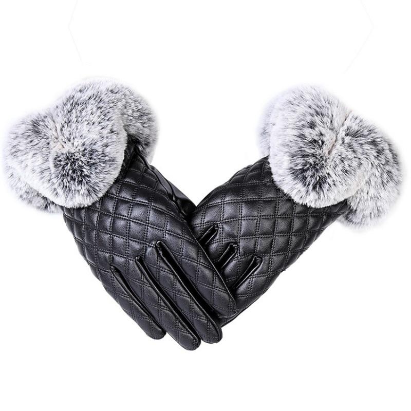 Fashion Women Warm Thick Winter Glove Leather Elegant Girls Brand Mittens Rabbit Fur Women's Gloves