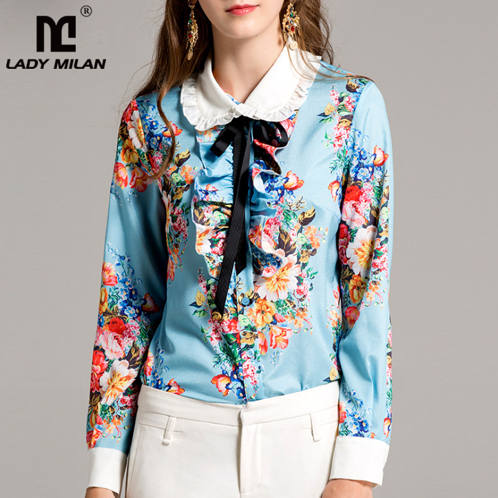 New Arrival 2018 Spring Womens Peter Pan Collar Long Sleeves Ruffles Floral Printed Designer Runway Shirts