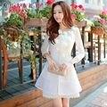 Dabuwawa primavera outono blusão de manga três quartos de renda flores tenso fino lace windbreak outwear trench coat rosa boneca