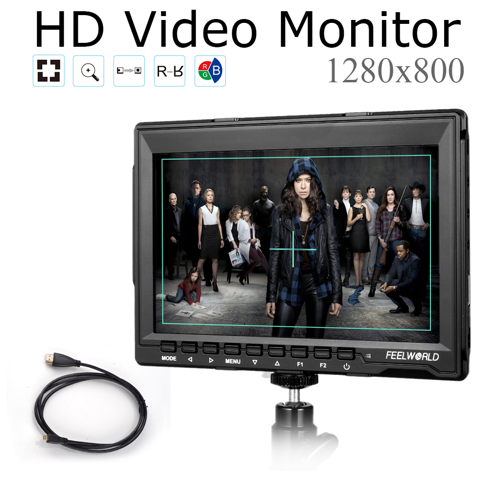 Feelworld FW759 1280x800 7 DSLR Camera Monitor HD IPS Field LCD Monitor HDMI Input for BMCC5D2,5D3,7D,60D,550D+Micro HDMI Cable
