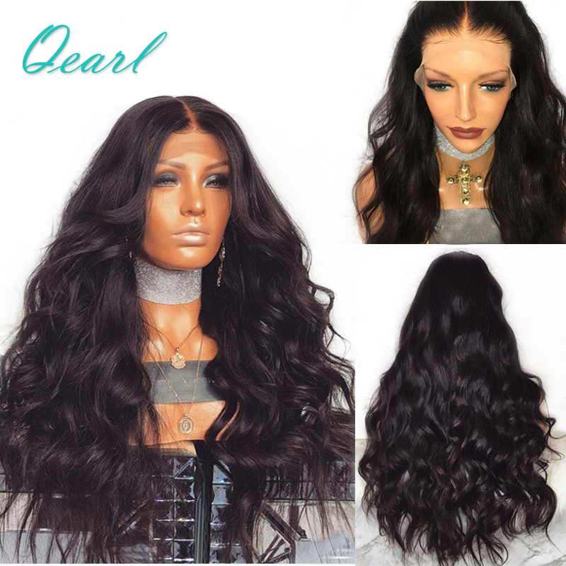 200% Density Brazilian Remy Human Hair Wavy Lace Front Wigs With Baby Hair Middle Part Pre Plucked 13x4 Qearl Hair
