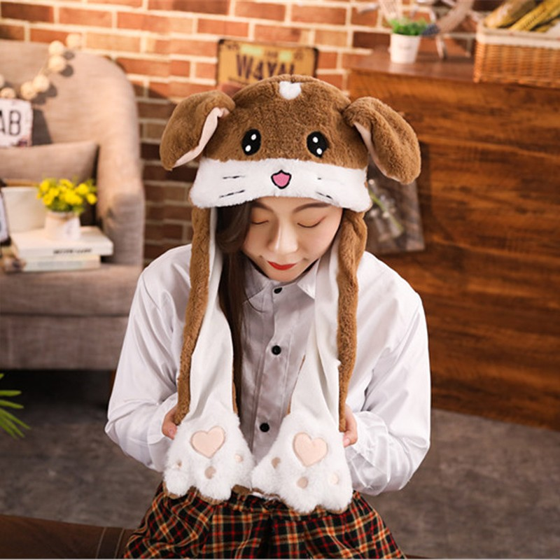 New 2019 Style Attractive Kids Cuddly Moving Ear Plush Unicorn Hat Soft Hamster Hat Dance Plush Toy For Gift