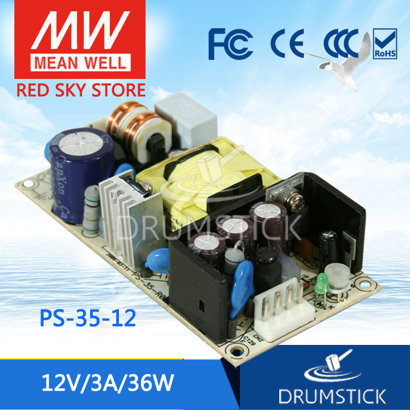 Hot! MEAN WELL PS-35-12 12V 3A meanwell PS-35 12V 36W Single Output Switching Power Supply xsc 12v 3a security switching power supply
