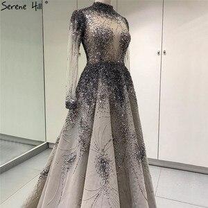 Image 2 - Muslimischen Grau Luxus Langen Ärmeln Abendkleider 2020 Neueste Design Kristall High Neck Formale Kleid Ruhigen Hill LA60975