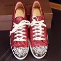 Nova chegada 2016 sapatos de couro genuíno do sexo feminino casual altura crescente das mulheres apartamentos de metal paillette strass plana lacing feminino