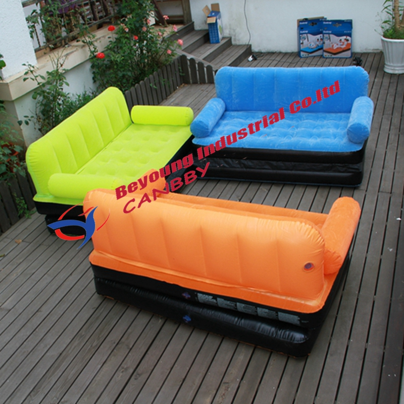 Bestway 67356 multi max double flocked inflatable sofa bed for Sofa aufblasbar