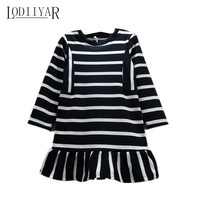 Girls Dress Casual Black White Striped Cotton Kids Dresses Sports Style O Neck Long Sleeve Children