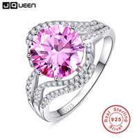 100 Pure 925 Sterling Silver Ring Set Luxury 5 Carat Pink CZ Diamond Wedding Rings For