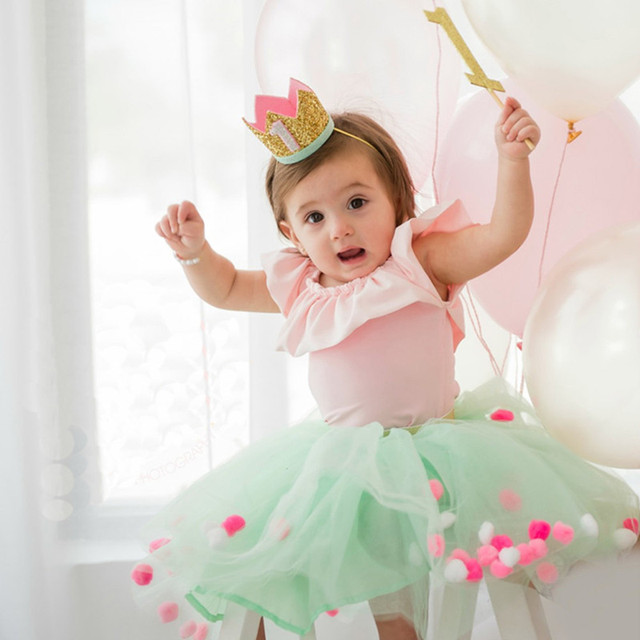 1Pcs Crown Hair Band Hats Birthday Decorations 1 Year Old Cap Party Supplies Baby Flash Powder Butterfly Bow Caps