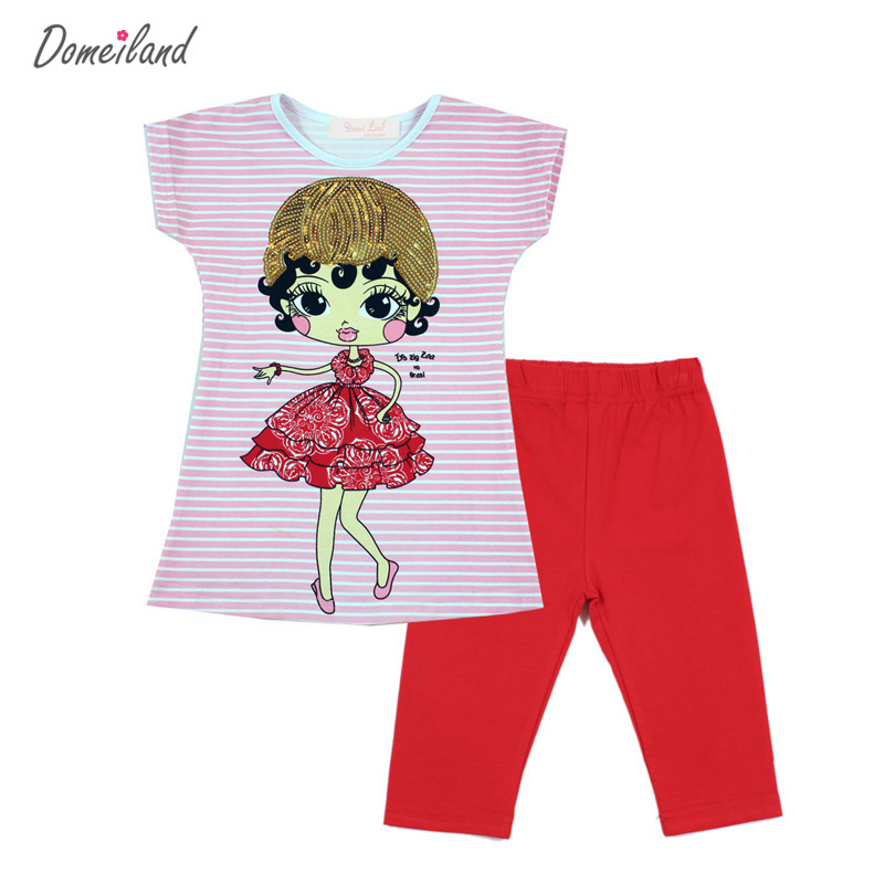 2017 fashion summer domeiland children clothing girls outfits sets short sleeve cartoon stripe shirts cotton pant clothes suits autumn winter girls children sets clothing long sleeve o neck pullover cartoon dog sweater short pant suit sets for cute girls