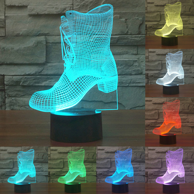Boots 3D LED Lamp Remote Touch Switch 7 Colors Changing Ice skating Night Light Sporting Boy Room Decor Kids Toys Gift 3d led light table lamp touch switch and remote control 7 colors changing walking cat sleeping light acrylic gifts festival kids