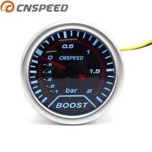 """CNSPEED """" 52 мм 12 В Автомобильный Автоматический турбонаддув манометр-1~ 2 бар дымовая Линза Автомобильный турбо измеритель давления белый светодиодный светильник YC101225"""