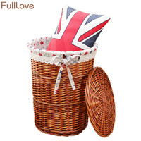 FullLove Wicker Laundry Basket Round Brown Dirty Clothes Sundries Toys Organizer Box with Cover Home Storage & Organization