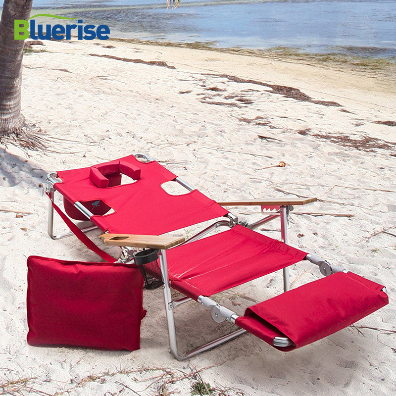 BLUERISE Deluxe Lightweight folding Beach Lounger Extra wide wooden armrest carry strap cup holder easily converts reclining