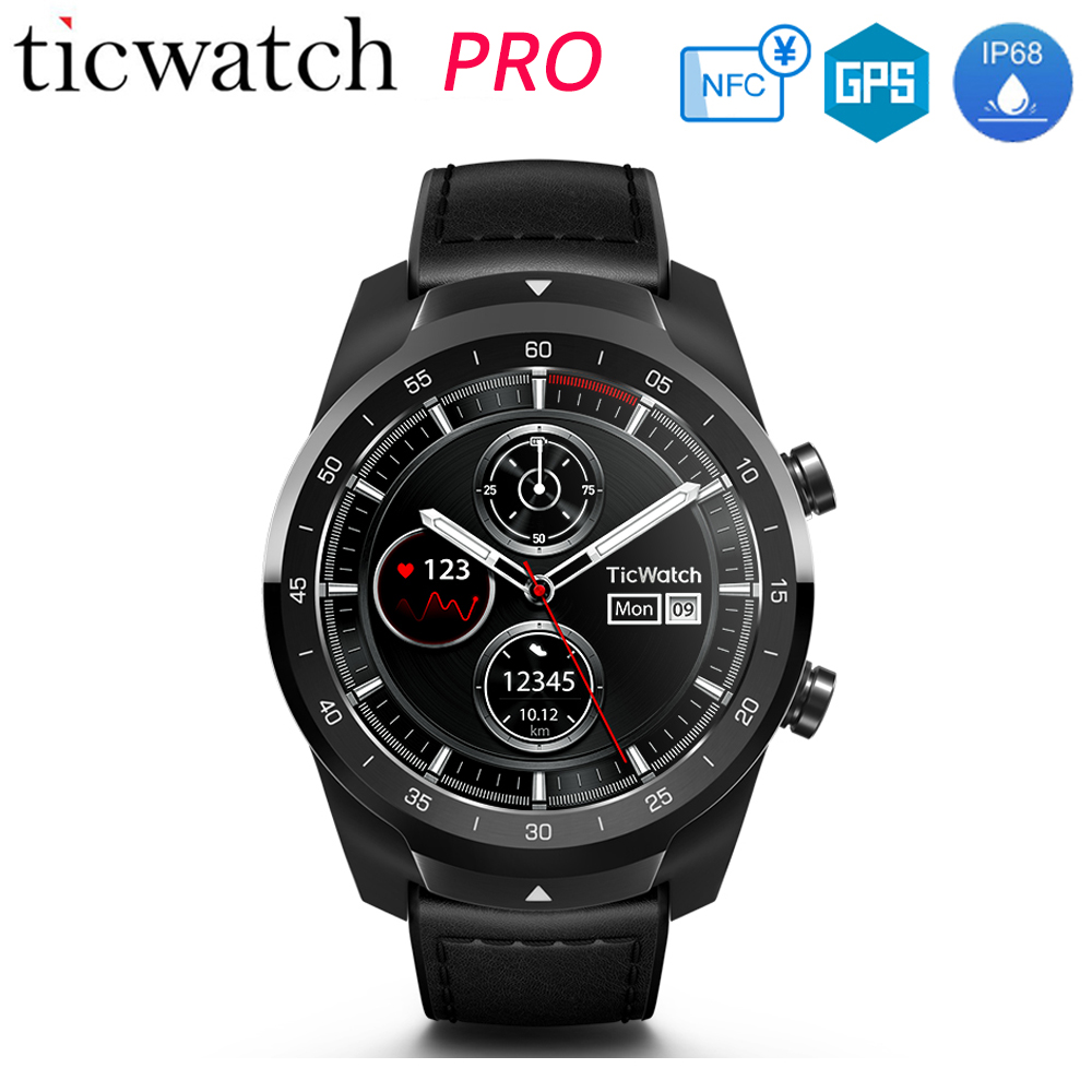 D'origine Mondiale Ticwatch Pro Bluetooth GPS montre connectée Wear OS NFC Google Payer Couches Affichage Google Assistant IP68 Longue Attente