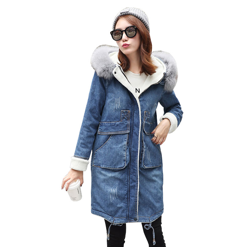 2018 New Parkas Women's Winter Denim Jacket Plus Velvet Thicken Warm Cotton Coat Female Imitation Fox Fur Collar Hooded Jacket 2015 new hot thicken warm cold woman down jacket coat parkas outerwear hooded fox fur collar long plus size 3xxxl luxury brand