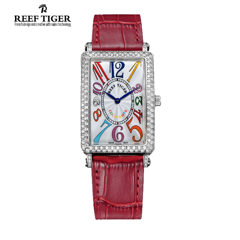Reef Tiger/RT Watches Fashion Luxury Lady Watch Diamonds Steel Leather Rectangular Quartz Watches Arabic Numeral RGA172 top brand reef tiger rt watches luxury fashion ladies dress quartz black watch rose gold diamonds watch for women rga172