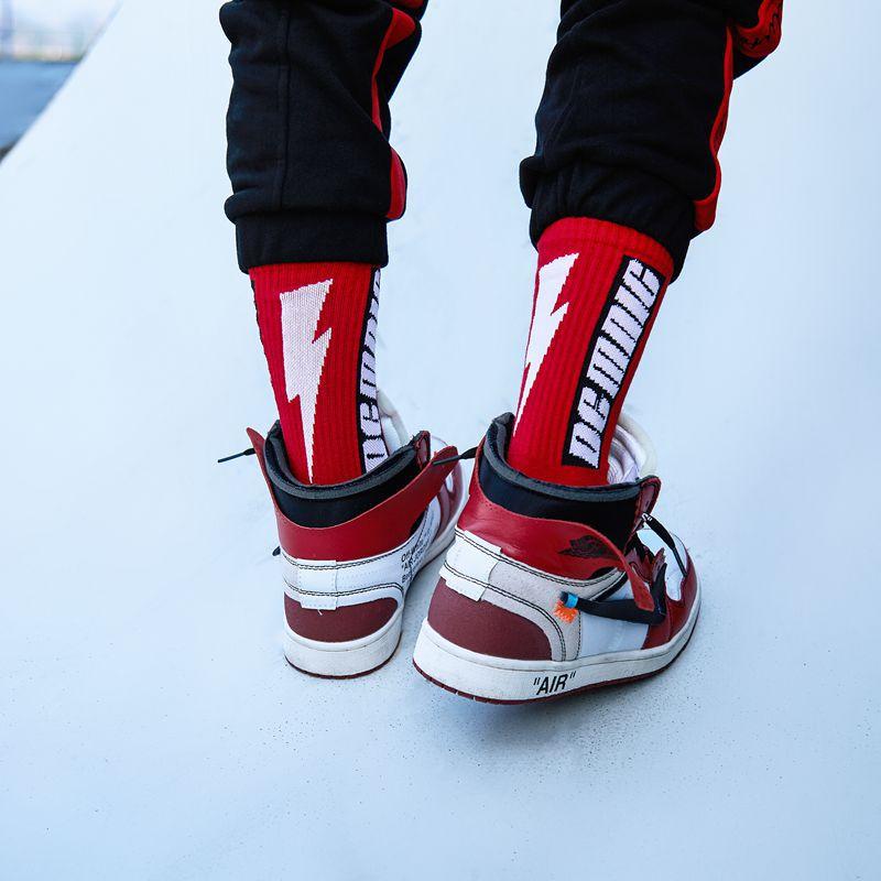3 pairs zerlos Street Dance Lightning crew Socks Men Stockings Spring Summer Hip-Hop Skate Mens Happy Socks Striped Socks Men