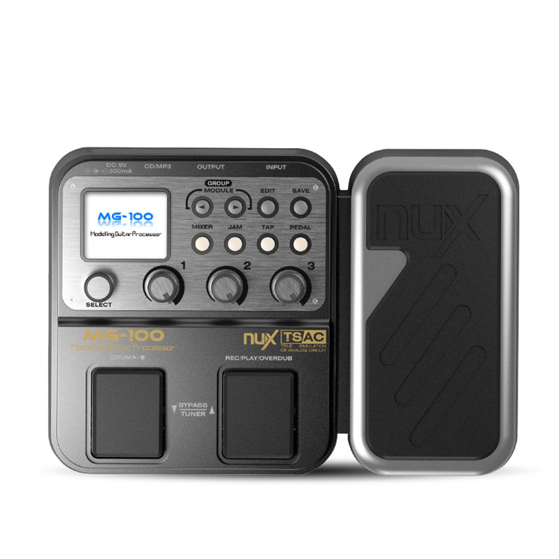 NUX MG-100Guitar Multi Effects Processor Pedal 58 Effects graphic EQ drum machine Guitar pedal effects Cabinet mode PowerAdapte electric guitar effector multi function guitar composition upgrade stylesound tuner drum machine integrated digital effects